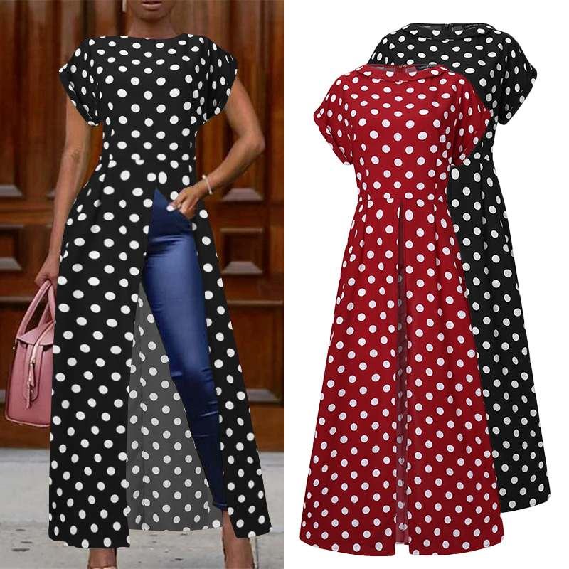 Fashion High Split Tops Women's Polka Dot Print Blouse 2020 ZANZEA Casual Short Sleeve Shirts Female Irregular Blusas Plus Size