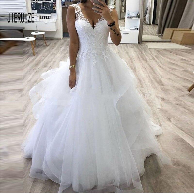 JIERUIZE Ruffles Wave Organza Wedding Dress V Neck Lace UP Sleeveless Appliques Wedding Gowns Marriage Dresses Robe De Mariee