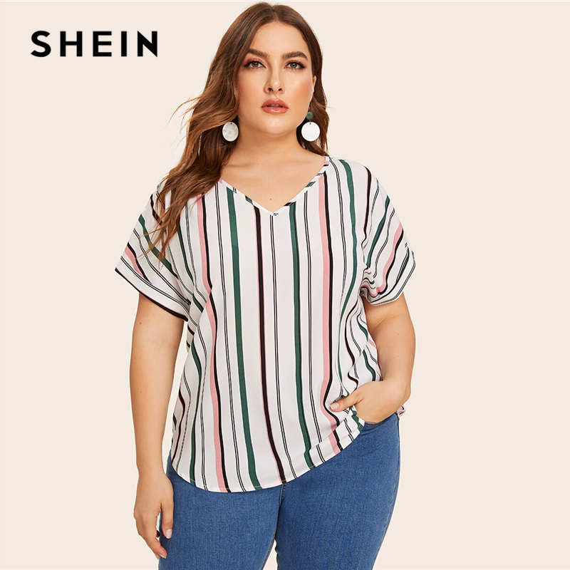 SHEIN Plus Size Multicolor Curved Hem Striped Blouse Top Women Summer V Neck Short Sleeve Casual Plus Tops and Blouses 1