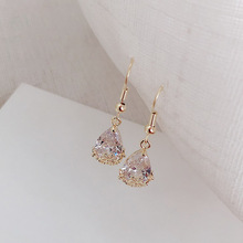 High-grade ear ring French romantic water drop crystal earrings simple women micro-insert