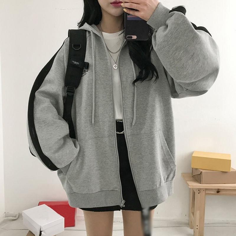 Women Sweatshirt 2019 Autumn Winter Fashion Hoodies Zipper Long Sleeves Zipper Pockets Women Hoodies Sweatshirts