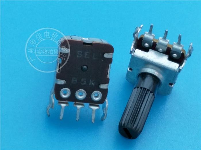5 pces r1215n sel 12-tipo quadrado horizontal único potenciômetro b5k/punho comprimento 18mm eixo serrilhado