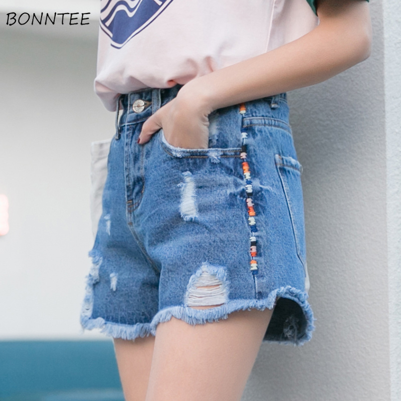 Shorts Women Simple All-match Solid Color Summer Embroidered Hole Womens Loose Elegant Pockets Single Button Female Zipper 2020