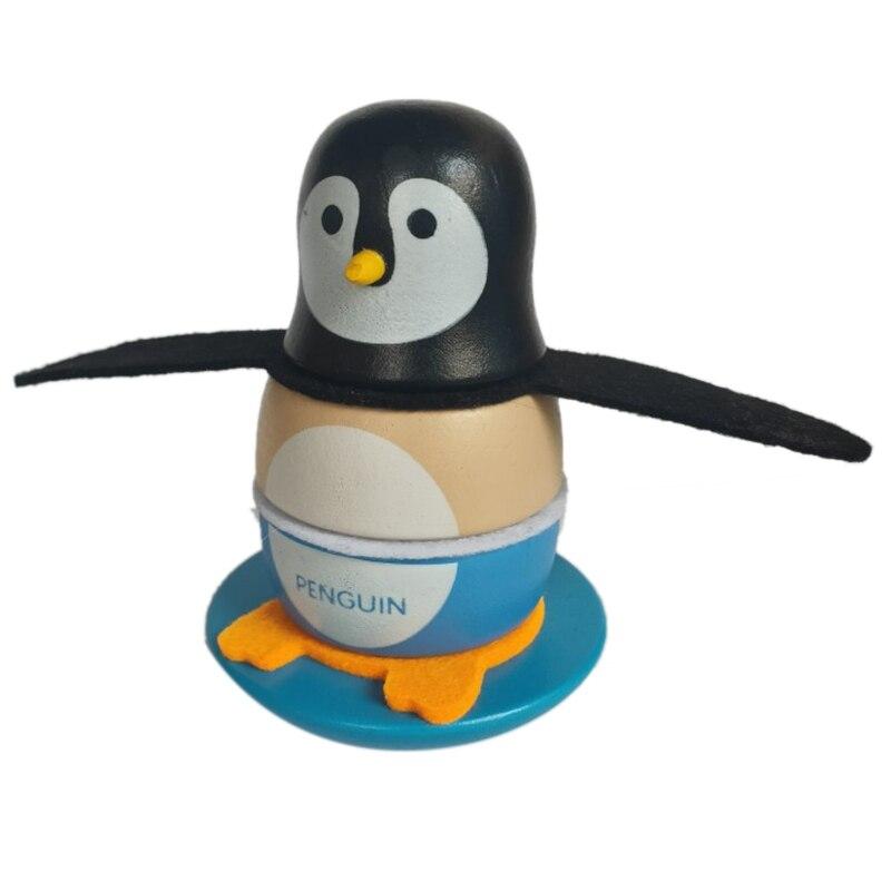 Cute Wooden Penguin Tumbler Statue Miniature Model Toy Baby Fun Educational Toys Building Block Game