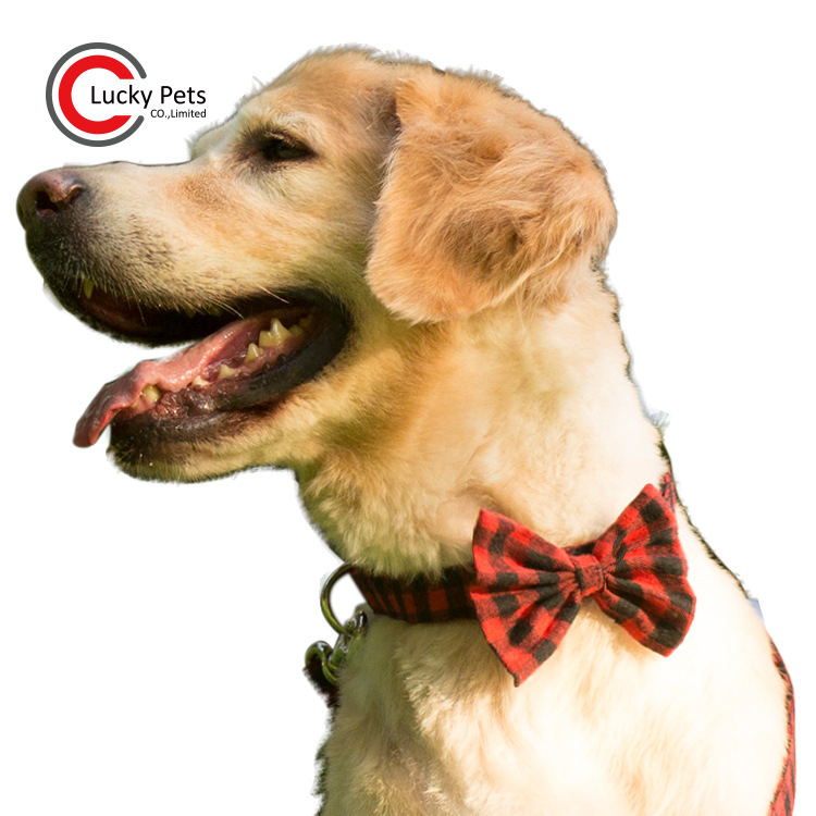 Pet Supplies Red Plaid Dog Bow Neck Ring Cotton Cloth Pet Tie Neck Ring