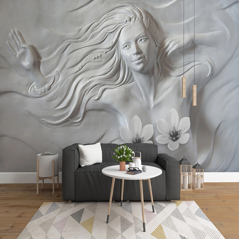 Custom 3D Creative Embossed Beauty Wall Art Murals Wallpaper For Living Room Study Room Bedroom Photo Wall Papers Home Decor