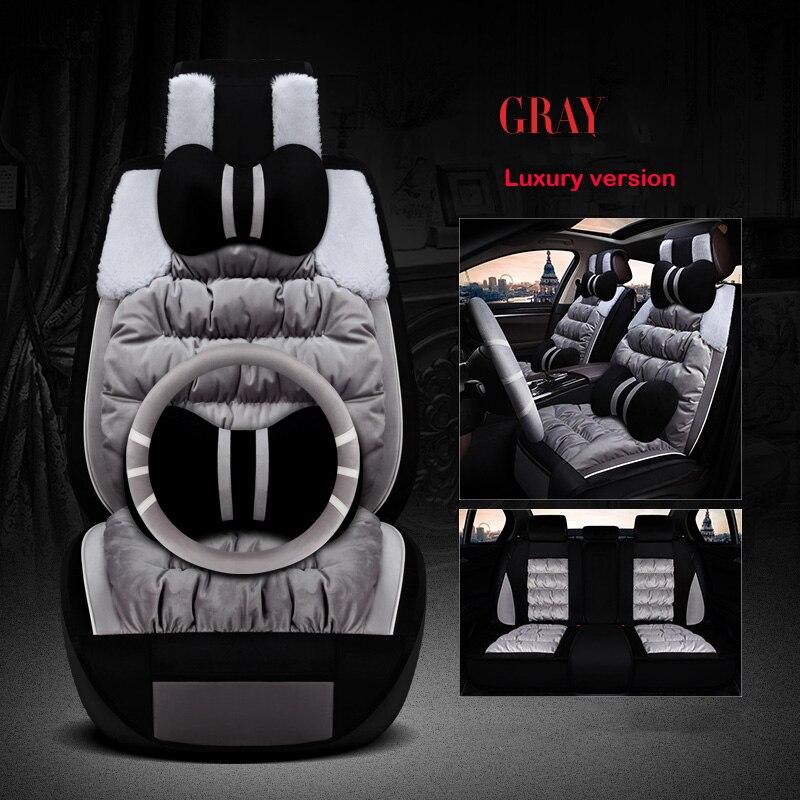Plush car seat covers set For lada Vesta granta 2106 2107 2109  changan cs35 cs75 eado raeton of 2018 2017 2016 car accessories|Automobiles Seat Covers| |  - title=