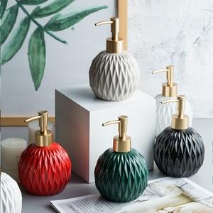 Image 2 - 400ml Round Fold Ceramic Soap Dispenser For Kitchen Bathroom Accessories Lotion Bottle Shower Gel Bottle Hand Sanitizer Bottle