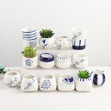 Wholesale Hand Painting Ceramic Flower Pots Plant Vase Home Decoration Ornament Miniature Model Figurine Flowerpots Office Decor