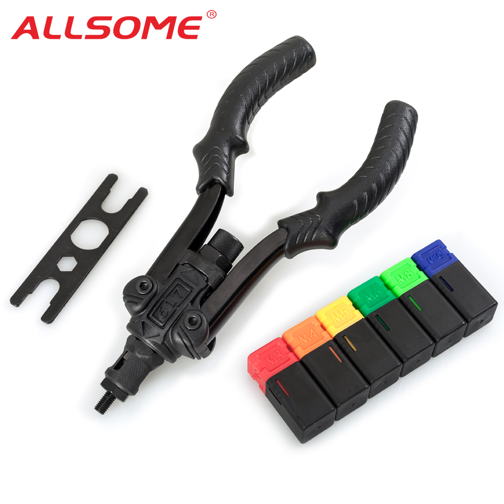ALLSOME Professional Rivet Setter Kit Hand Threaded Rivet Nut Tool With 6 Metric Mandrels M3 M4 M5 M6 M8 M10 HT2886