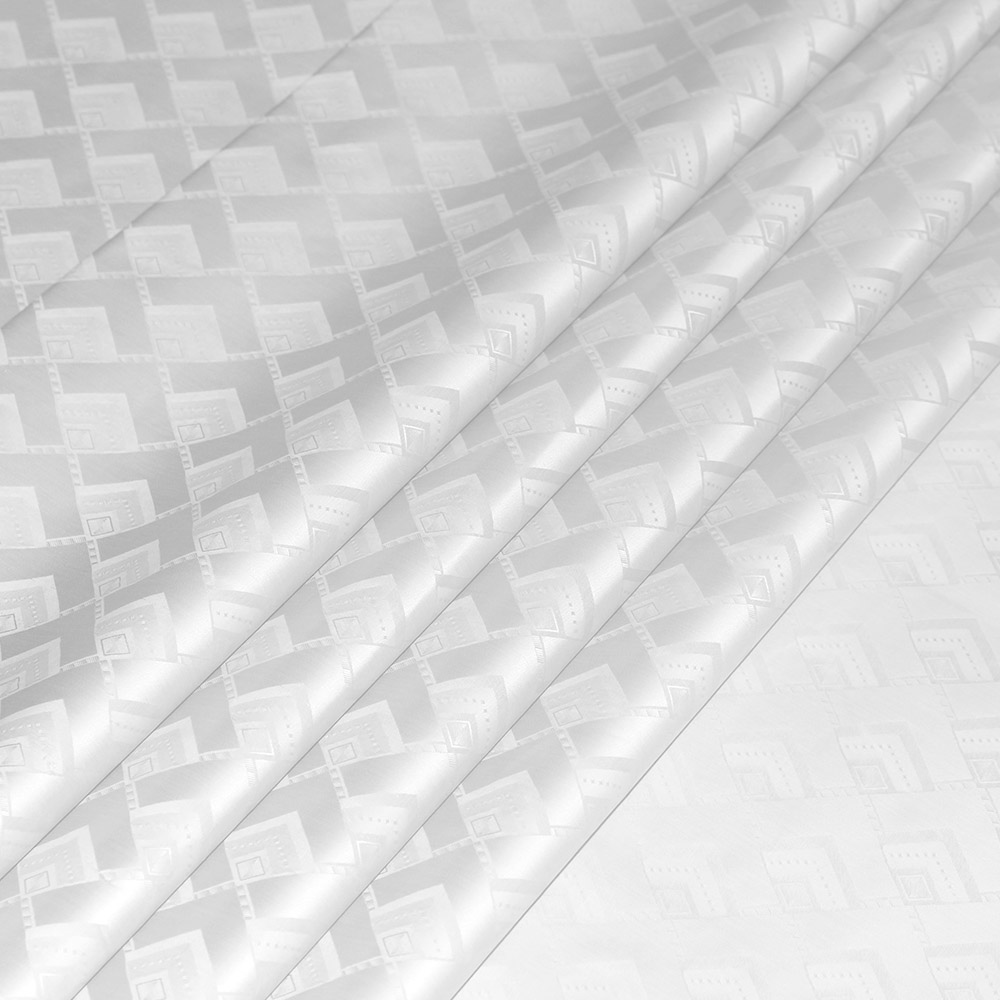 Traditional White Color Damask 5 Meters/bag African Cloth Fabric Damask 100% Cotton Jacquard FEITEX Guinea Brocade