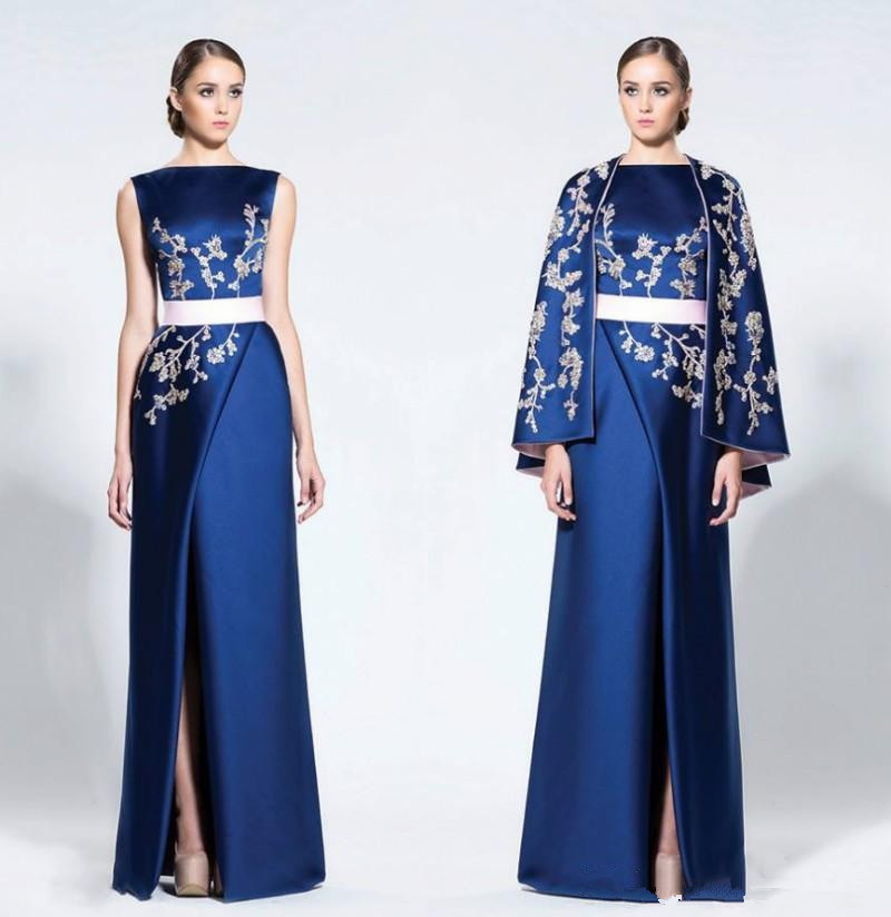 Navy Blue Arabic Evening Dresses With Cape Wraps High Split Satin Appliques Prom Dress Mother Of Bride Dresses Formal Party Gown
