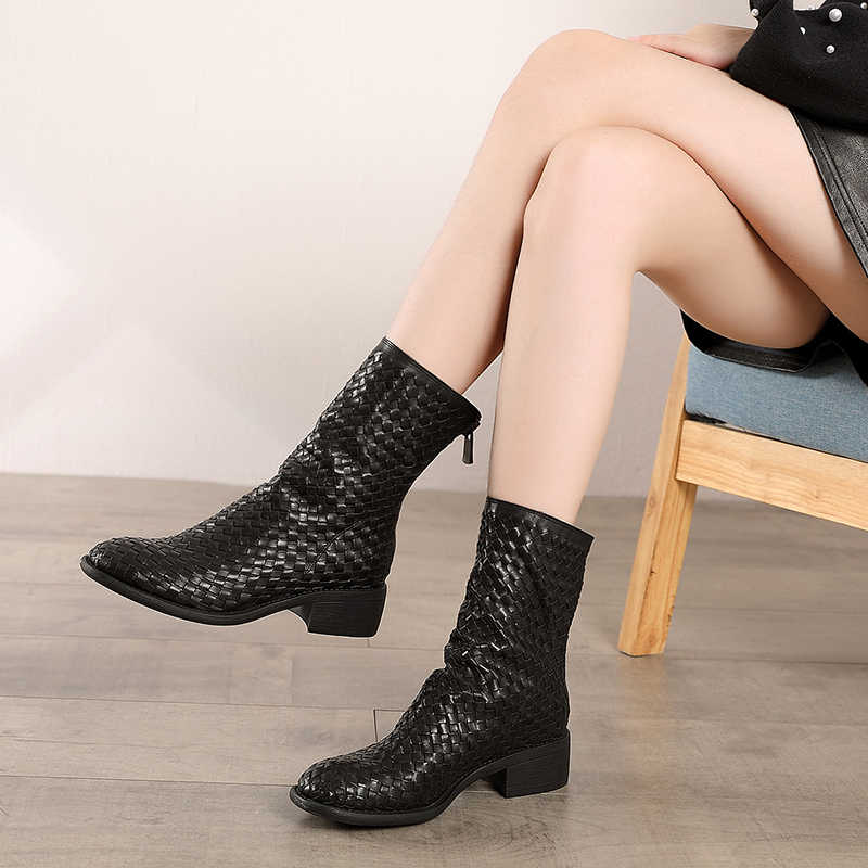 2019 Autumn VALLU Genuine Leather Women Ankle Boots Genuine Leather Black Shoes Hand-Weaving Round Toes Zipper Lady Short Bootie