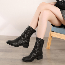 2019 Autumn VALLU Genuine Leather Women Ankle Boots Black Shoes Hand-Weaving Round Toes Zipper Lady Short Bootie