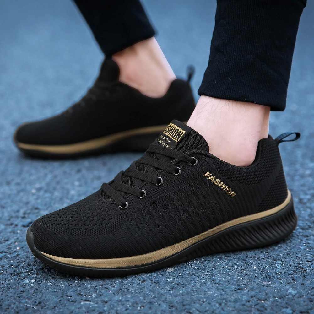LSYSAG 2019 yeni erkek ayakkabısı hafif örgü yürüyüş spor ayakkabı erkekler eğitmenler moda nefes erkek rahat ayakkabılar Feminino Zapatos