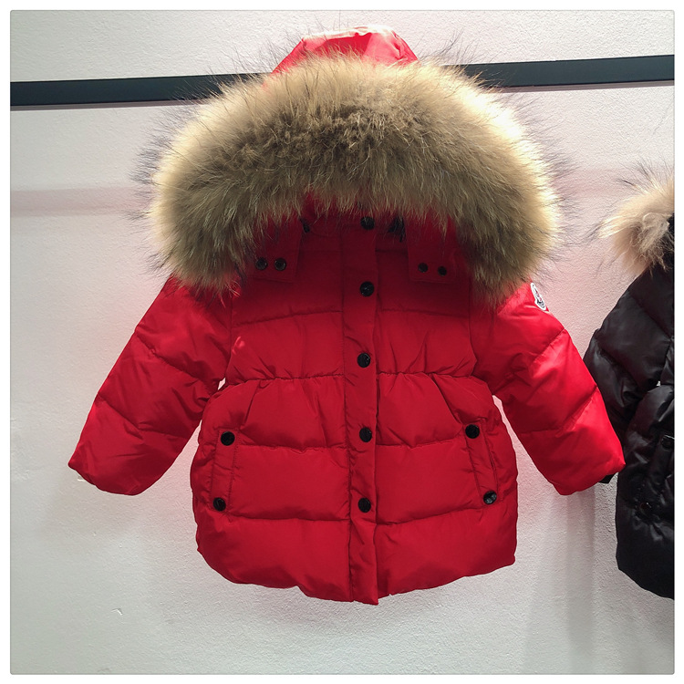 -30 Degrees Winter Children's Thick Down Jacket Girls Black Hooded Down Jacket Natural Large Fur Collar Baby Warm Winter Clothes