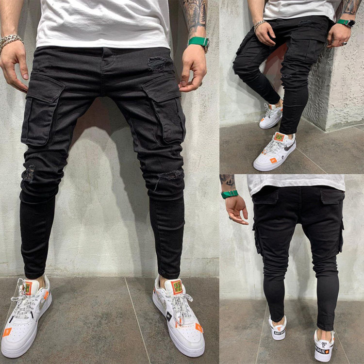 New Black Biker Cargo Jeans Men Multi-Pocket Slim Fit Joggers Trousers Mens Ripped Hole Motorcycle Streetwear Denim Pencil Pants