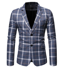 PUIMENTIUA 2019 New Fashion Mens Plaid Casual Blazers Stylish Business Wedding Party Outwear Coat Tops Button Slim Fit Blazer