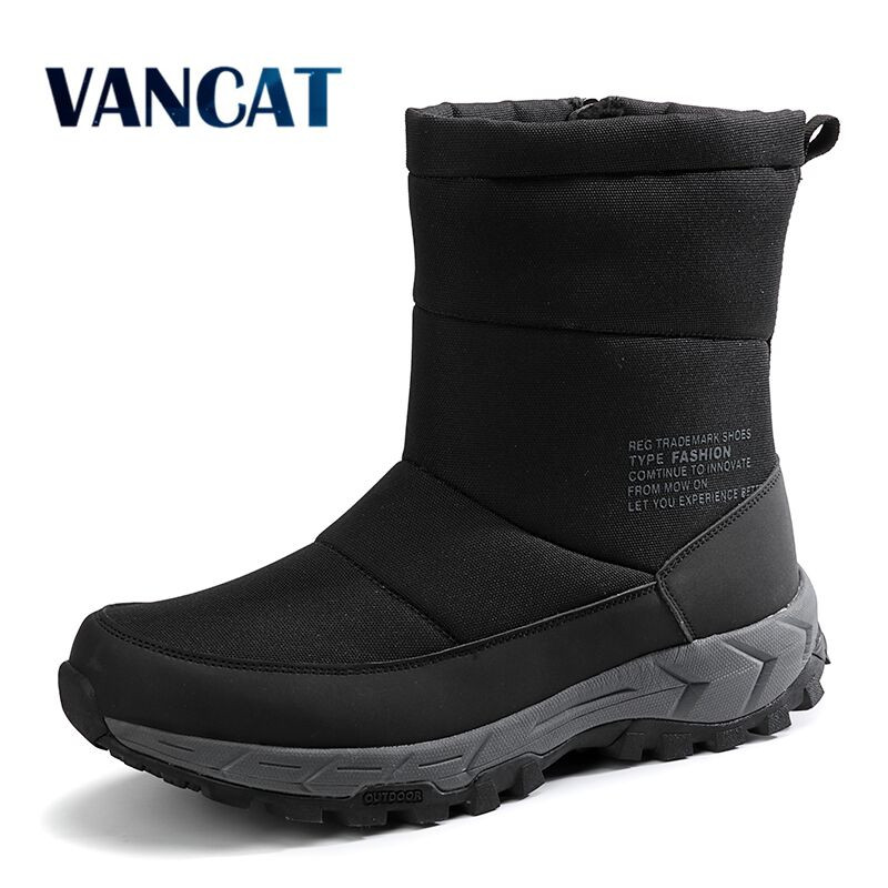 New Fashion Zipper Men Boots High Quality Ankle Boots Warm Fur Plush High Help Snow Boots Winter Work Shoes Big Size 39-46