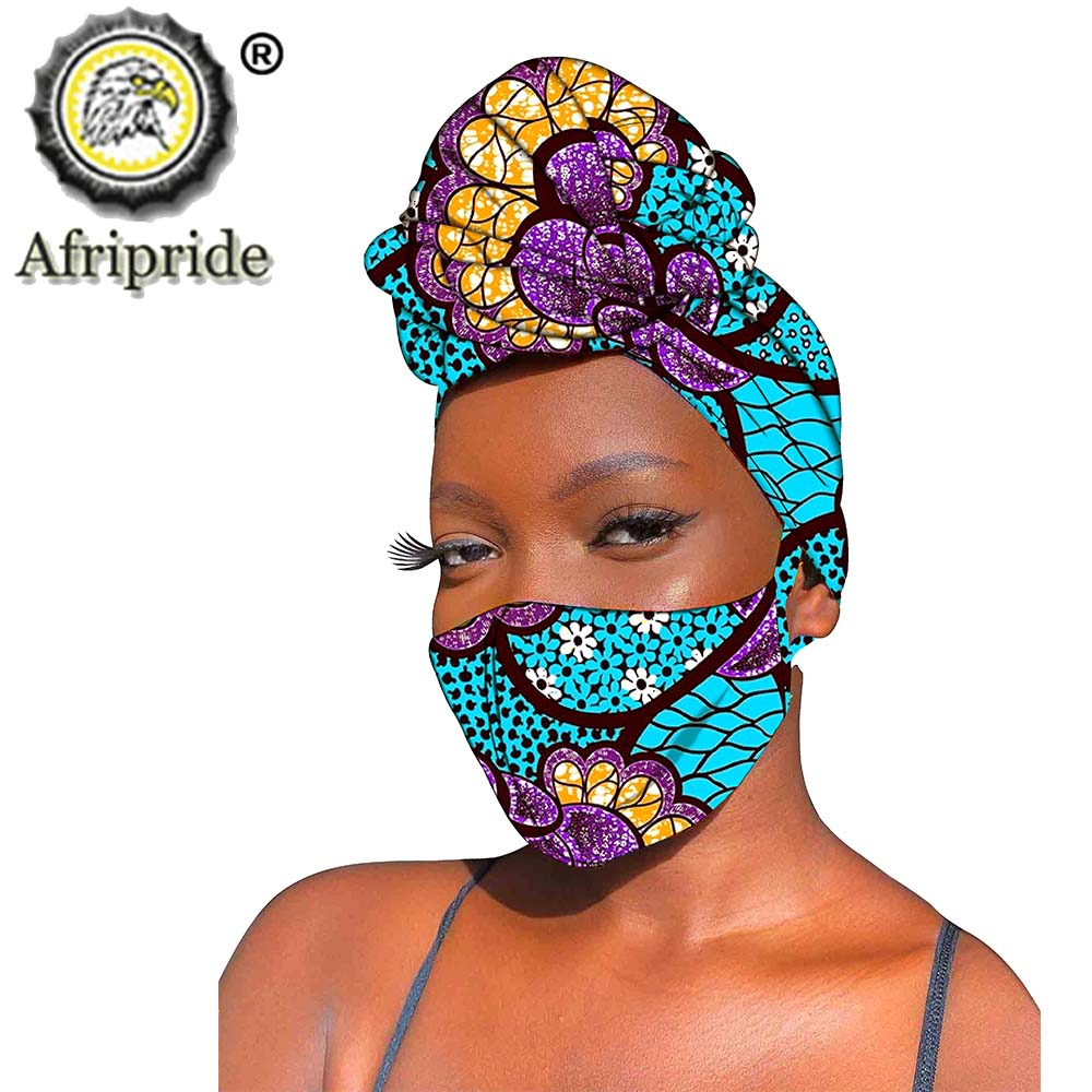 African Headwraps and Mask 2 Piece Set Ankara Print Cotton Headband Bandana Headscarf Mask Match Print Wax Cotton Traditional
