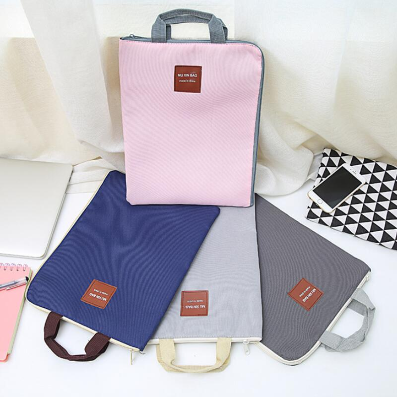 Canvas A4 File Folder Document Bag Business Briefcase Paper Storage Organizer Bag School Office Stationery Supplies Waterproof