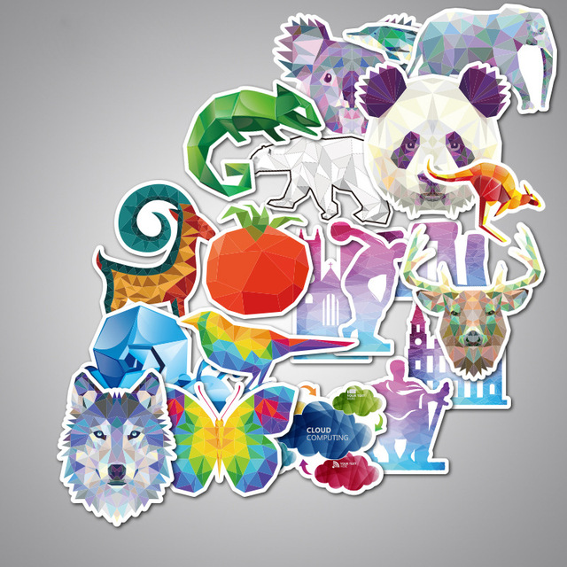 35pcs/pack Animals Cool Series Set Stickers Animal Diamond Suitcases Luggage Skateboard Notebook Stickers