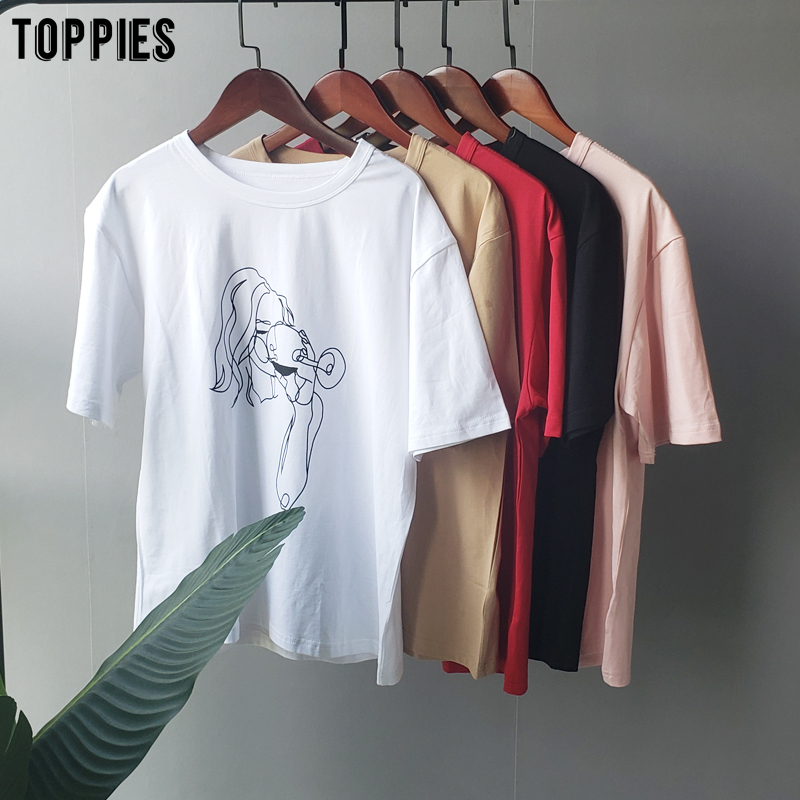 toppies summer t shirts character printing tops tees solid color white t shirts women drinking girls
