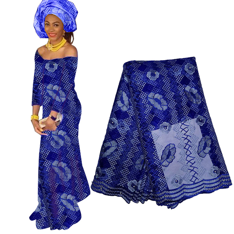Newest African Floral Lace Fabrics 2019 Embroidery Net Lace French Tulle Lace Fabric Nigerian Lace Fabric For Wedding Party