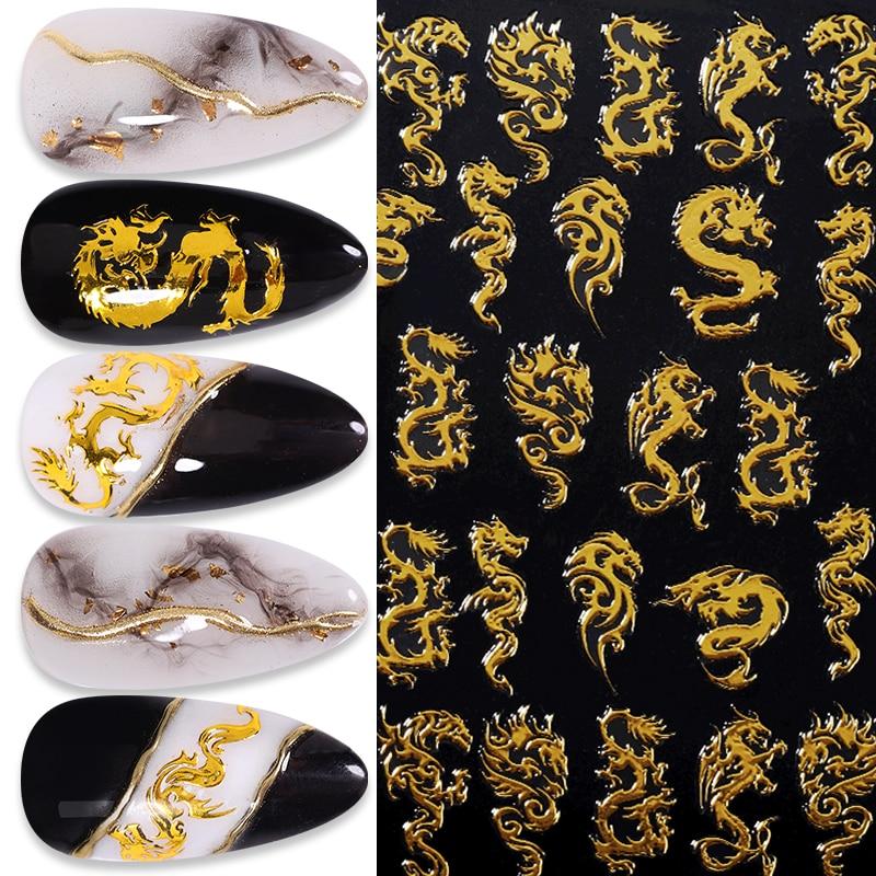 1 шт. 3D наклейки для ногтей золотой дракон красочные Phoenixs наклейки для ногтей супер тонкий наклейки для ногтей наклейки для художественного ...