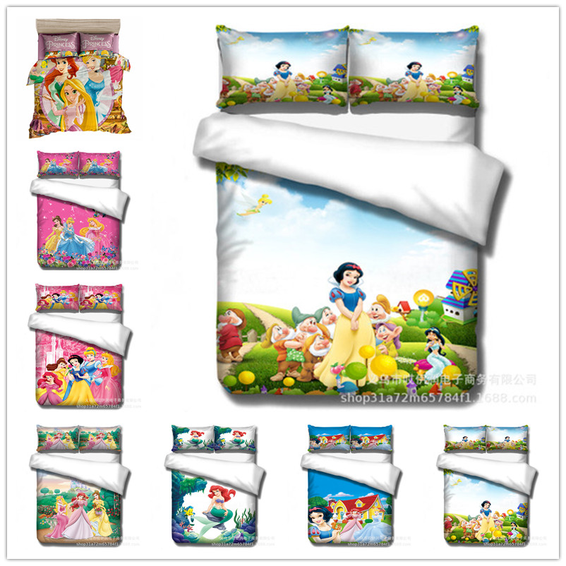 Disney Snow White Princess Comforter Bedding Set Single Queen King Size Bedding Set  Duvet Cover Set For Girls Bedroom Decor 3d