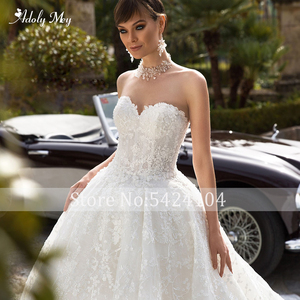 Image 3 - Adoly Mey Glamorous Appliques Royal Train Lace Ball Gown Wedding Dress 2020 V Neck Beaded Off the Shoulder Princess Bridal Dress