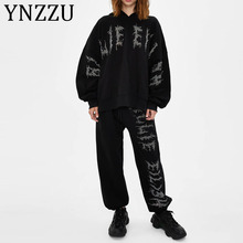 YNZZU Oversized Hoodies Sweatshirt Women 2020 Fashion Rhinestone Pullover Hoodies Loose Female Track