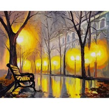 Paris Autumn Street Pictures By Numbers Landscape Painting Digital Acrylic Hand Painted Canvas Oil Paintings Wedding Decorations
