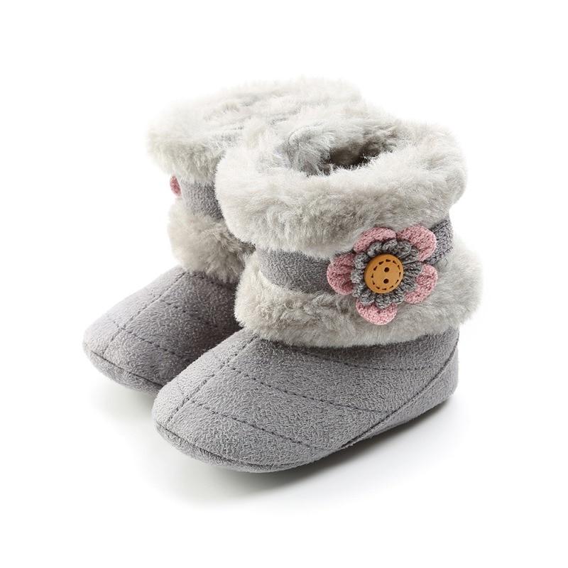 Winter Boots Baby Boys Girls Shoes Super Warm Booties Booty Flower Soft Rubber Sole No-slip First Walker Prewalkers Snowfield