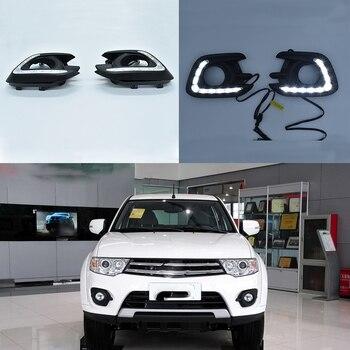 1Pair Turn signal Yellow Flashing 12V Car LED Daytime Running Lights LED DRL Daylight E-mark for Pajero 2013~2015 Fog Lamp Cover