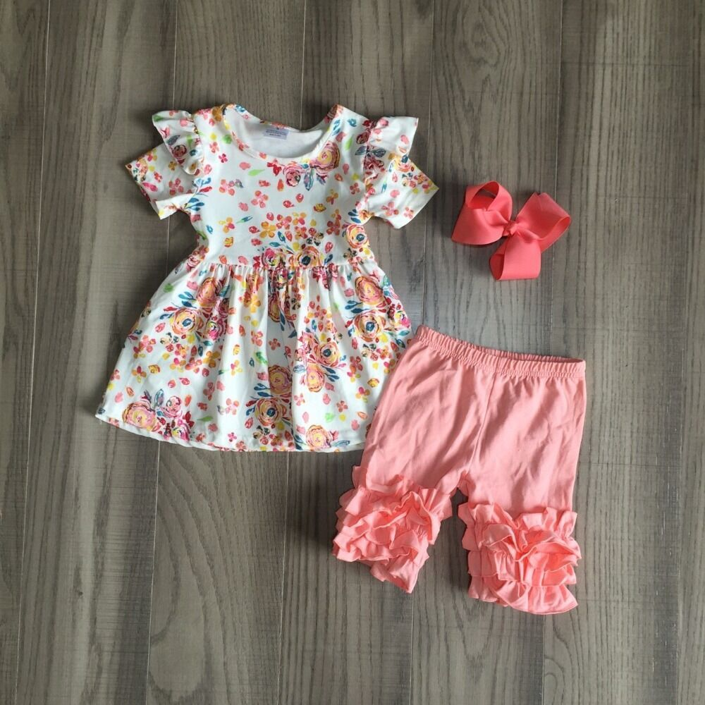 Baby Girls Summer Outfits Floral Top Solid Coral Shorts Kids Cute Outfits With Bow