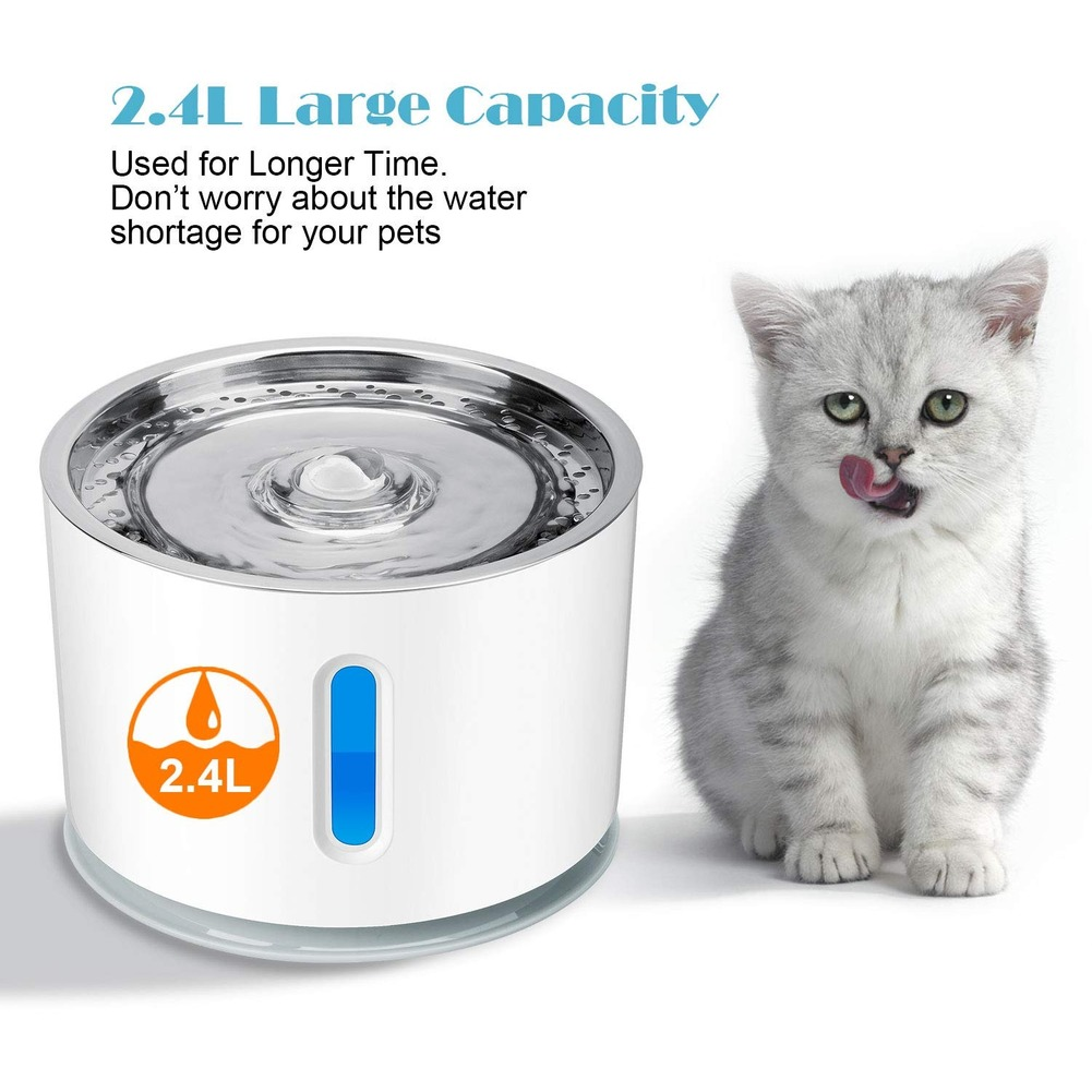 2.4L Automatic Pet Cat Water Fountain Ultra Quiet USB Dog Drinking Fountain Drinker Feeder Bowl Pet Drinking Fountain Dispenser 5