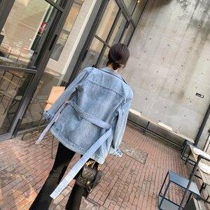 Image 5 - Galcaur 非対称デニム女性のコートラペル襟長袖レースアップ女性のコート 2020 秋特大ファッション新しい服