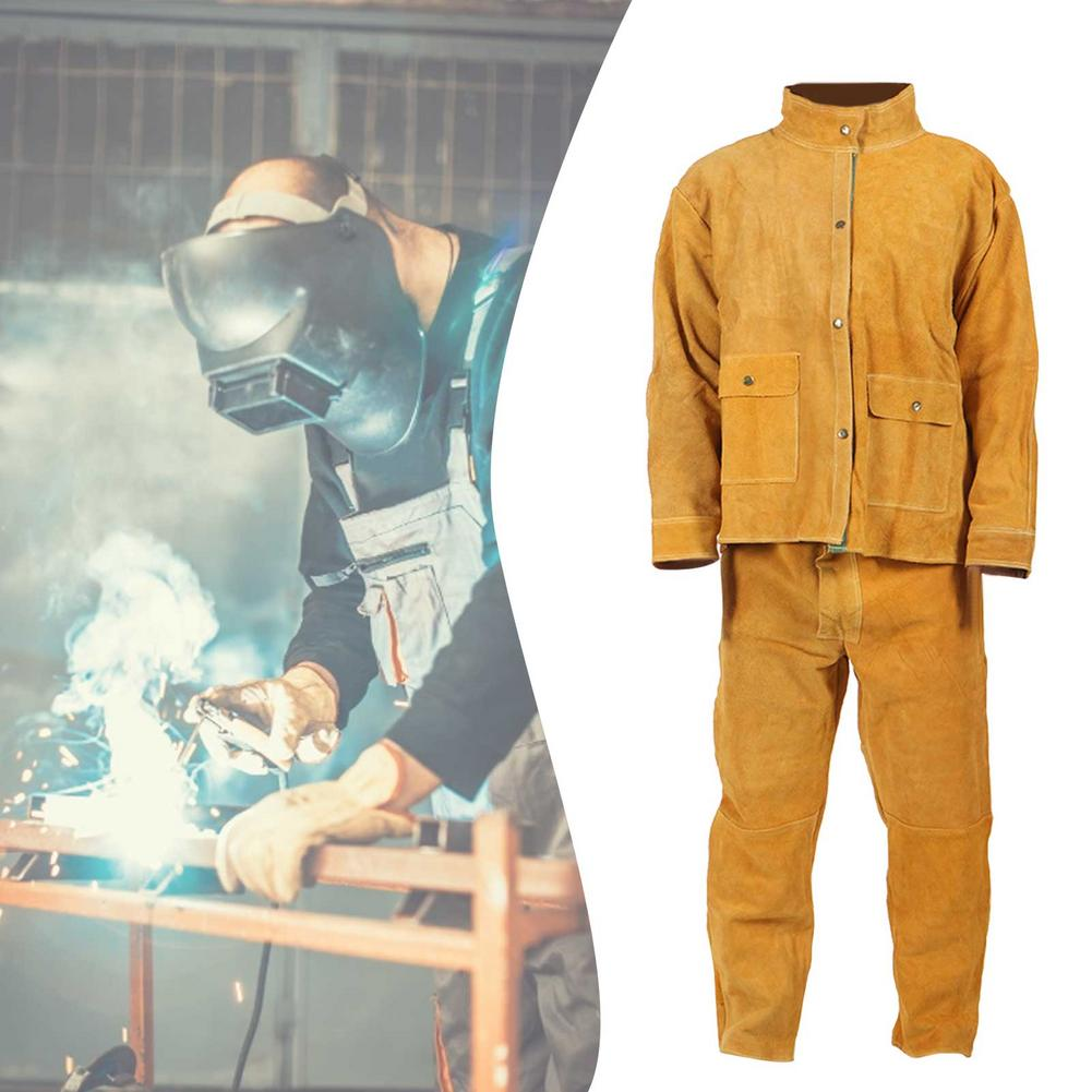 Suit High-neck Heat-resistant Male Cowhide Welding Clothing Flame-retardant And Splash-proof Welding Clothing