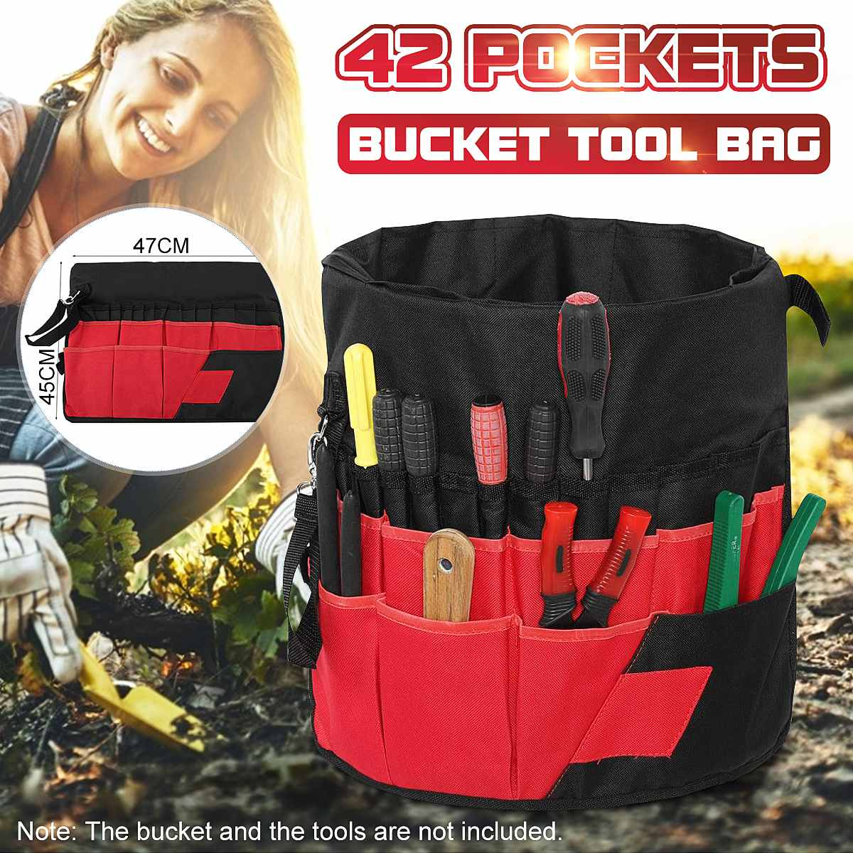 5 Gallon Bucket Tool Bag 42 Storage Pockets Garden Work Tool Set Bags Organizer (Tools Excluded) Waterproof Oxford Cloth Durable