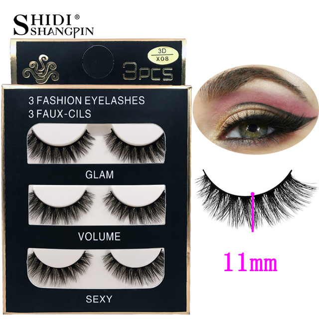 SHIDISHANGPIN 3d mink eyelashes hand made makeup false eyelashes natural long eyelash extension 1 box 3 pairs eyelash X08 5