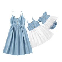 Citgeett Summer Mommy and Daughter Vest Dress Strap Pocket Button Dress Outfits 0-8Y Kids Girls Women Denim Dress(China)