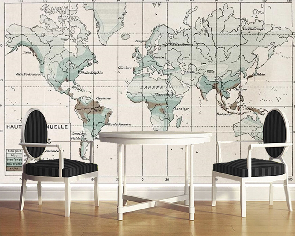Papel de parede rétro vieille carte du monde nordique américain 3d papier peint mural, salon tv mur chambre papiers peints décor à la maison