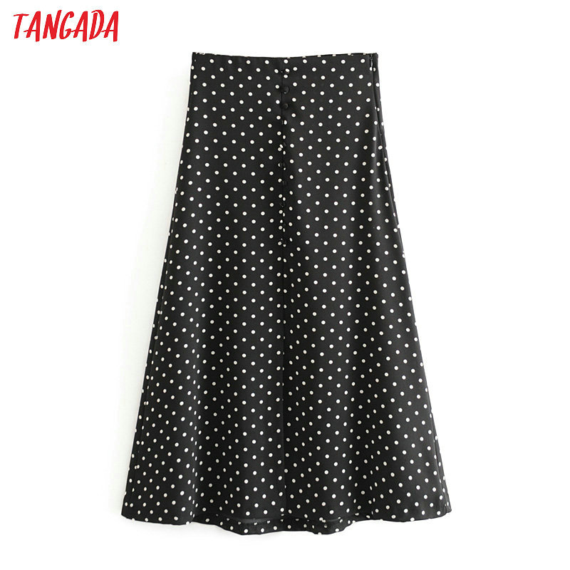 Tangada Women Dots Print Black Midi Skirt Faldas Mujer Vintage Side Zipper Office Ladies Elegant Chic Mid Calf Skirts 6A02