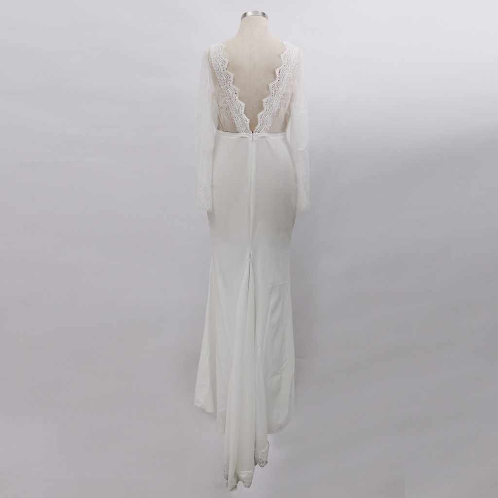 Trumpet / Mermaid Dresses Sexy Women Long Sleeve Deep V-neck Backless Lace Cocktail Prom Gown Bride Floor-Length Lace Dress *