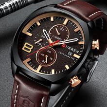 CURREN męskie zegarki wodoodporny Sport zegarek wojskowy dla mężczyzn wielofunkcyjny chronograf moda skórzany pasek kwarcowy na rękę tanie tanio Moda casual Klamra 3Bar QUARTZ Ze stopu 24cm CN (pochodzenie) Hardlex 14mm 24mm ROUND Kwarcowe Zegarki Na Rękę CURREN8324