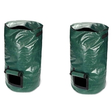 2Pcs 80L Organic Waste Kitchen Garden Yard Compost Bag Portable Environmental PE Cloth Planter 45X80CM