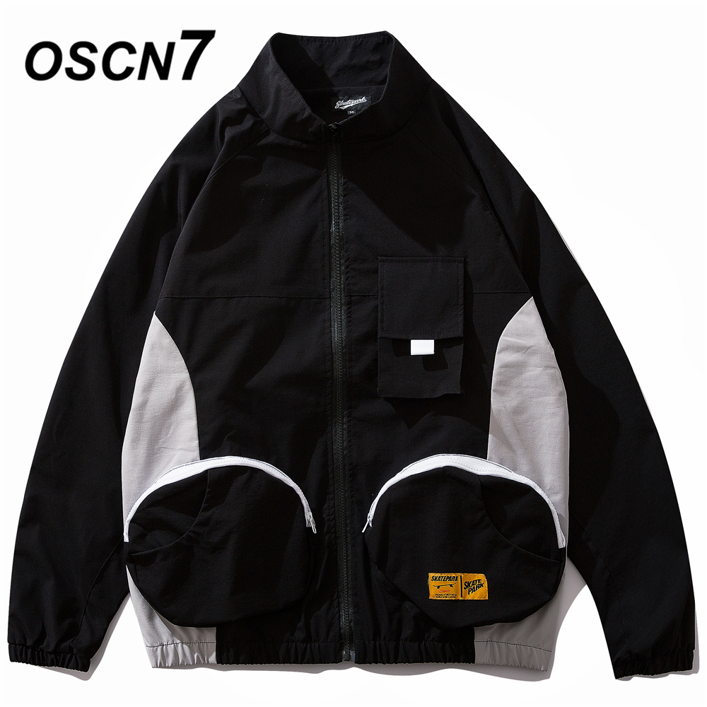 OSCN7 Hip Hop Contrast Color Stand Jackets Men 2019 New Streetwear Loose Casual Women Windbreaker Jackets Bomber Coat 9119