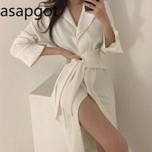 Coreano chique elegante temperamento lapela bandage vestido fino império midi manga cheia camisas vestido feminino vintage sólido a linha casual