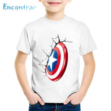 Children Fashion Avengers Captain America Style Shield T shirt Kids Casual Summer Tops Baby Boys/Girls Clothes,oHKP370